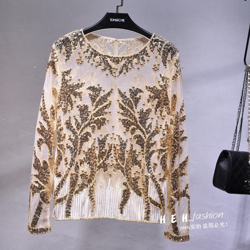 Sexy Sequined Embroidery Rose Flower Shirt Shiny Transparent Gauze Heavy Beading Blouses Blusa Camisa Luxury Party Club Tops Women's Clothing
