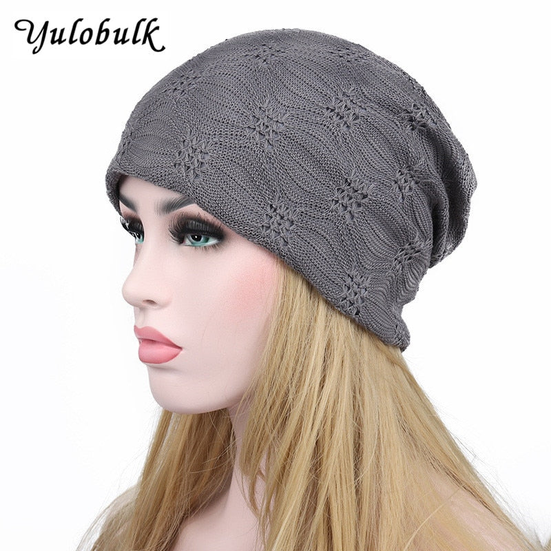New Europe And America Style Double Layers Women s Autumn Hats Cotton Lace  Skullies Hollow Turban Chemo 87120190290