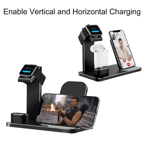 3 In 1 Charging Dock Station Bracket Cradle Stand Holder Charger or IPhone XR X 8 7 Wireless QI Dock For Apple Watch 2 3 Charger