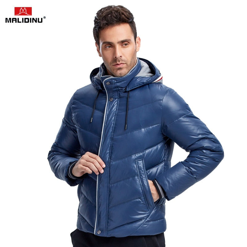 a5f14d18880 MALIDINU 2018 New Men Down Jacket Winter Down Coat Parka 70%White Duck Down  Hooded