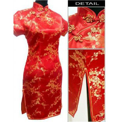 c3ec1f22f76 Navy Blue Traditional Chinese Dress Women s Satin Qipao Summer Sexy Vintage Cheongsam  Flower Size S M L Xl