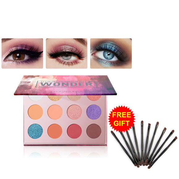 FOCALLURE 12-Color Glitter Eyeshadow Palette with Free Eye Brush Set Makeup Eye Shimmer Makeup Matte Eyeshadow Palette TSLM2