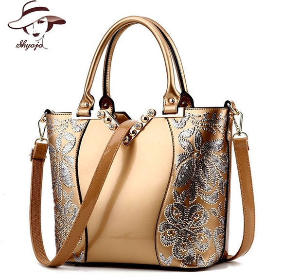 2017 Luxury Sequin Embroidery Women Bag Patent Leather Handbag Diamond Shoulder Messenger Bags Famous Brand Designer Bolso Mujer