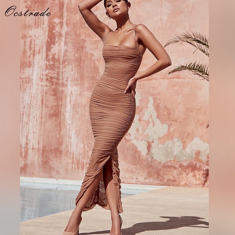 1f79238cdc Ocstrade Summer 2018 New Arrival Sexy Party Long Bodycon Dresses for Women  Spaghetti Straps Tan Ruched