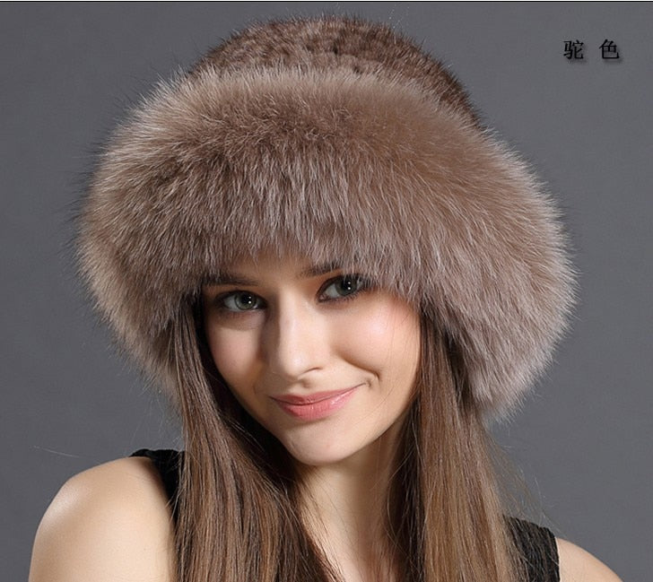 e26108f65e6 New Genuine real natural knitted Mink Fur Hat Cap women hand made knit  Fashion Winter Headgear
