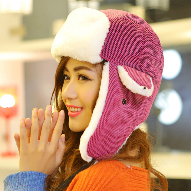 115d0ba0249 HT541 Fashion Plaid Winter Hats for Women Hot Sale Winter Bomber Hats  Unisex Warm Russian Hats