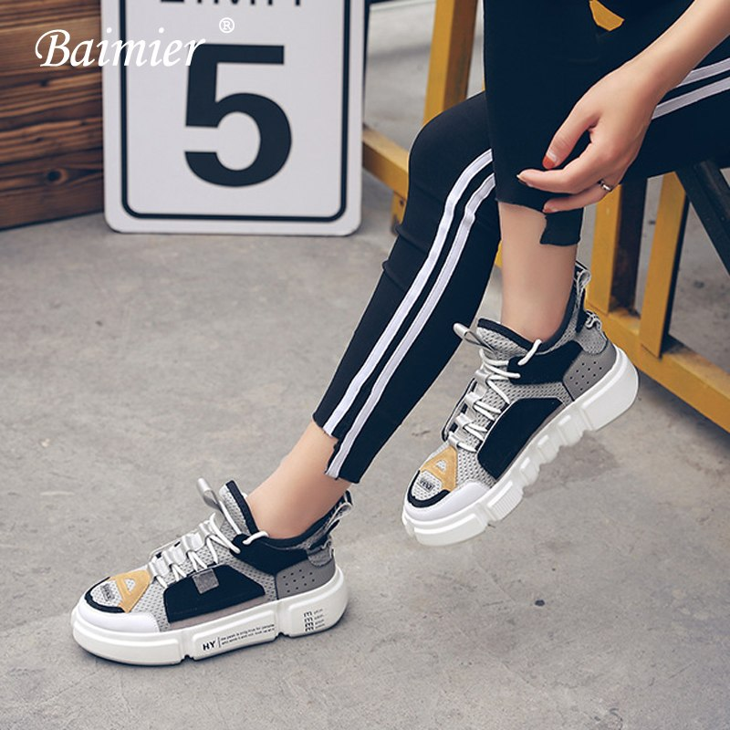 73b37379603 Baimier Genuine Leather Women Sneakers Mesh Breathable Mixed Color Women  Platform Shoes Fashion Street Style Lace