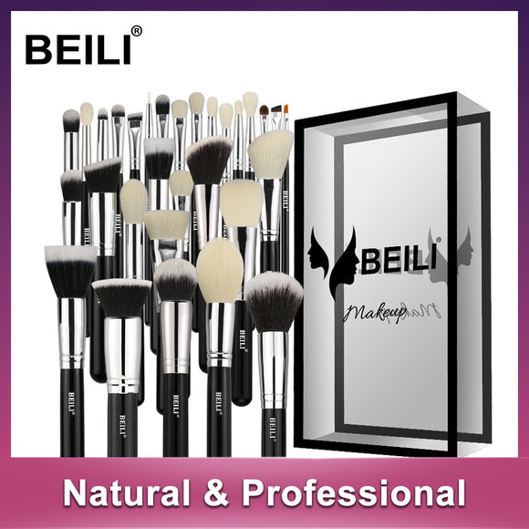 BEILI Black Complete Professional Foundation Powder Concealer Contour Natural goat hair Eyes Blending 30 pieces Makeup Brush set
