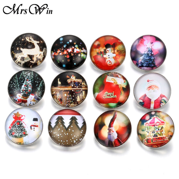 10pcs/Lot Christmas Snap Jewelry Christmas tree Santa Claus stocking Pattern 18mm Glass Snap Buttons for Snap Bracelet Bangles
