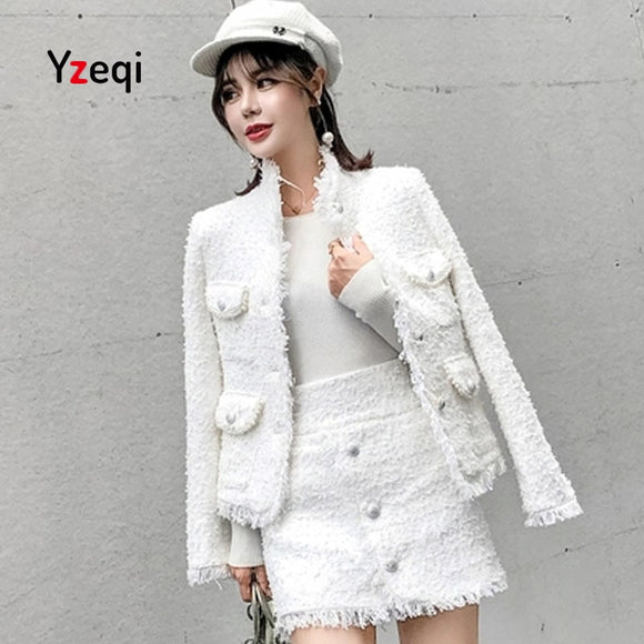 Yzeqi Two Piece Set 2018 Winter Elegant Women 2 Piece Set Women Tweed Top +tassels Woolen Pencil White Mini Skirt Suit Crop Top