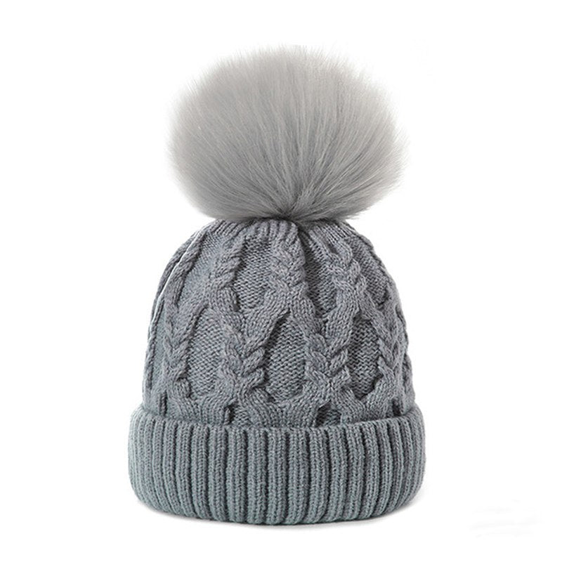 d66d16d2487bf SuperB G Fashion Warm Winter Hat Women Knitted Beanies Fur Pom Poms Casual  Thick Winter Skullies Cap