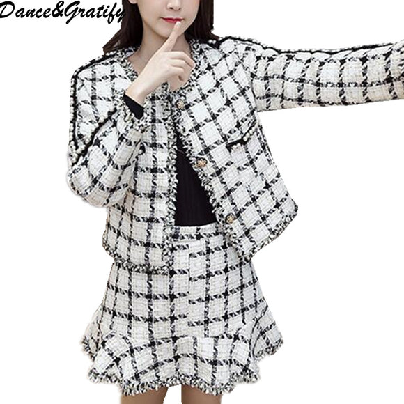 Autumn winter tweed coat skirt suit women long sleeve plaid pearls jacket + mermaid skirts two pieces sets