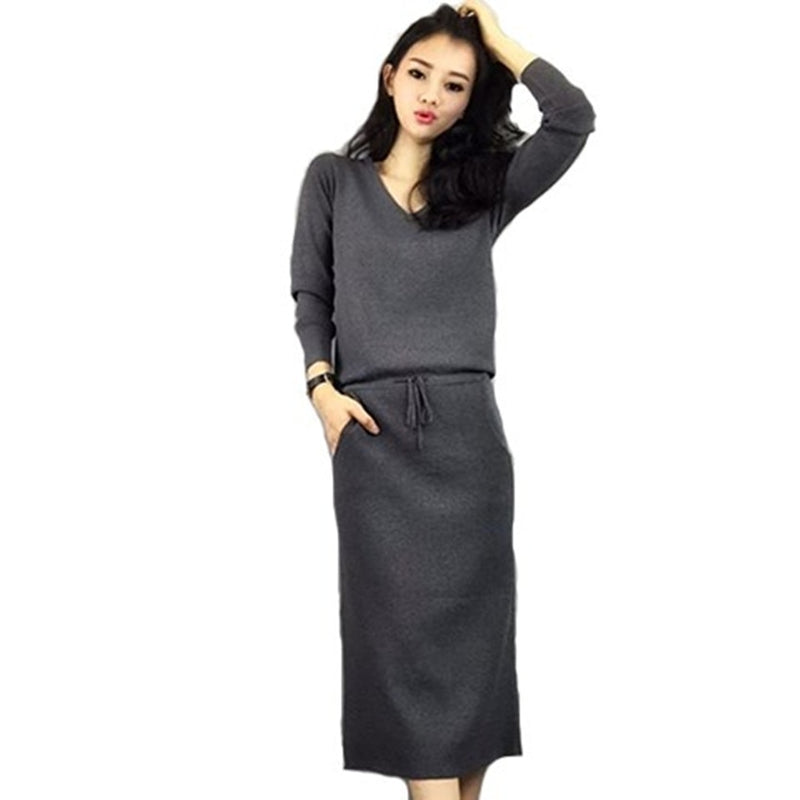 5e8a62d41b40a Plus Size Autumn Women 2 Piece Set 2018 Fashion Gray Knitted Long Sleeve  Loose Sweater Top