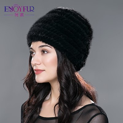cb45284e583 Women s fur hat for winter warm knitted mink fur beanies caps brand fa