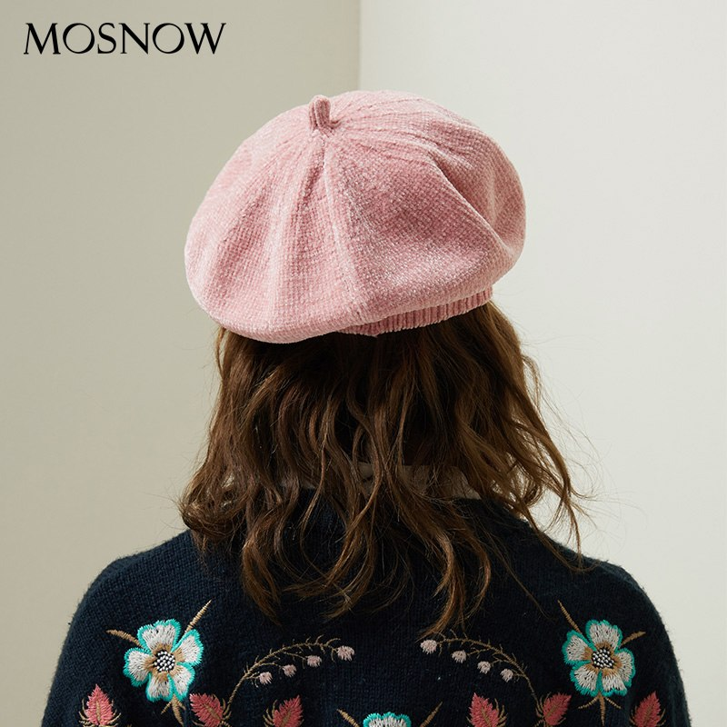 9061c085762 ... 2018 New Stylish Berets Chenille Material Winter Berets For Women Warm  Knitted Hat Female Autumn Painter ...