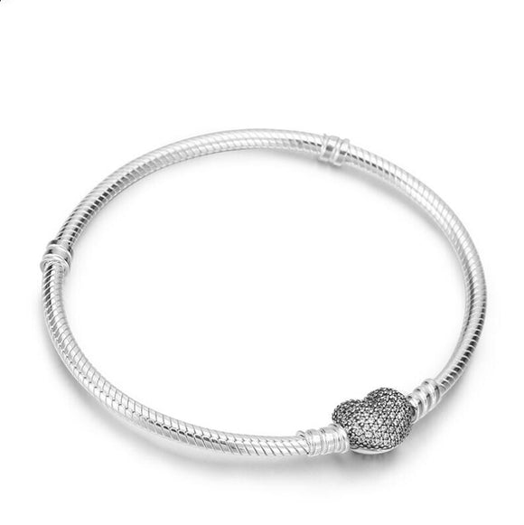 Authenetic 925 Sterling Silver pandora Bracelet Moments Pave Heart Clasp With Crystal Bracelet & Bangle Fit Bead Charm Jewelry