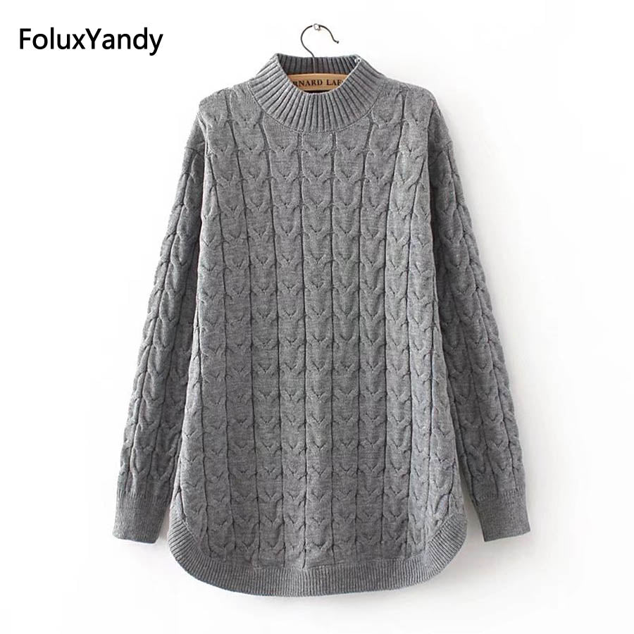 091b9555dc1b2 Autumn Turtleneck Sweaters Women Plus Size 3 4 XL Casual Knitting Sweater  Pullovers Pink Gray Black