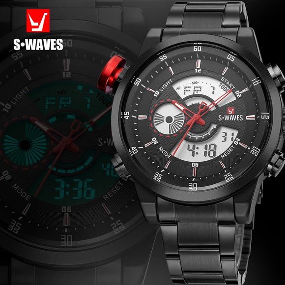 SWAVES Famous Brand Dual Display Watch Quartz Men Wristwatches Waterproof Digital Wach Big Electronic Clock Relogio Masculino