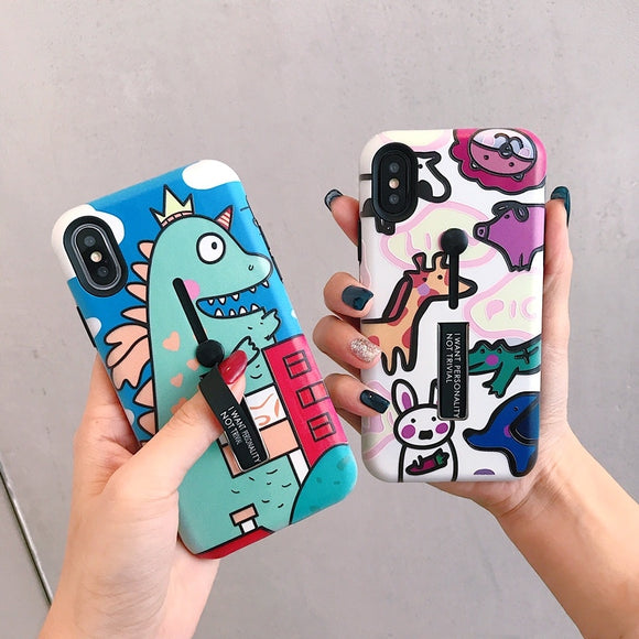 Cartoon dinosaur animals case for iphone X XR XS XS Max Hide Ring Stand Holder Phone Cases for iphone 6 6s 7 8 7plus cover