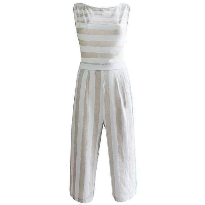 d4018b262f2 Summer Two Piece Set Women Sleeveless Crop Top Striped Jumpsuit Casual  Clubwear Wide Leg Pants Outfit