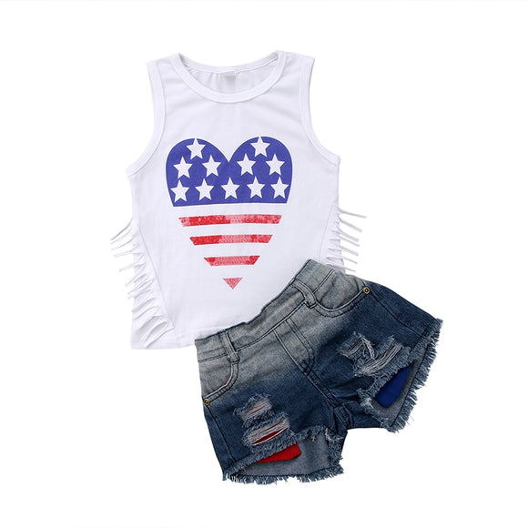 Fashion New Toddler Kids Girl Clothing Set Star Striped Tassel Vest T-shirt Tops+Denim Shorts Ripped Jean 2PCS Children Clothes