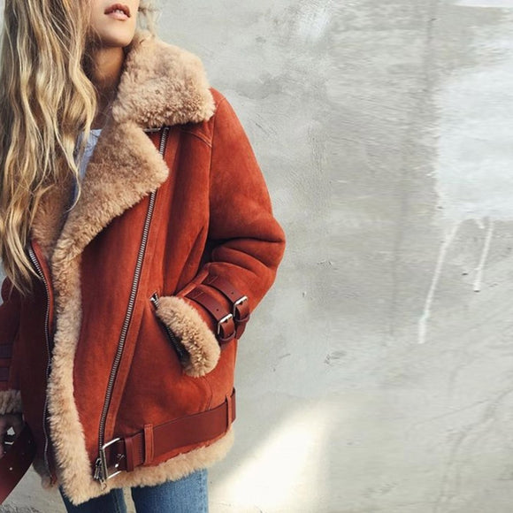 Winter Coat Suede Leather Faux Fur Jacket Women Plus Size 5XL Hot Fashion Thicken Warm Zipper Motorcycle Jackets Casual Overcoat