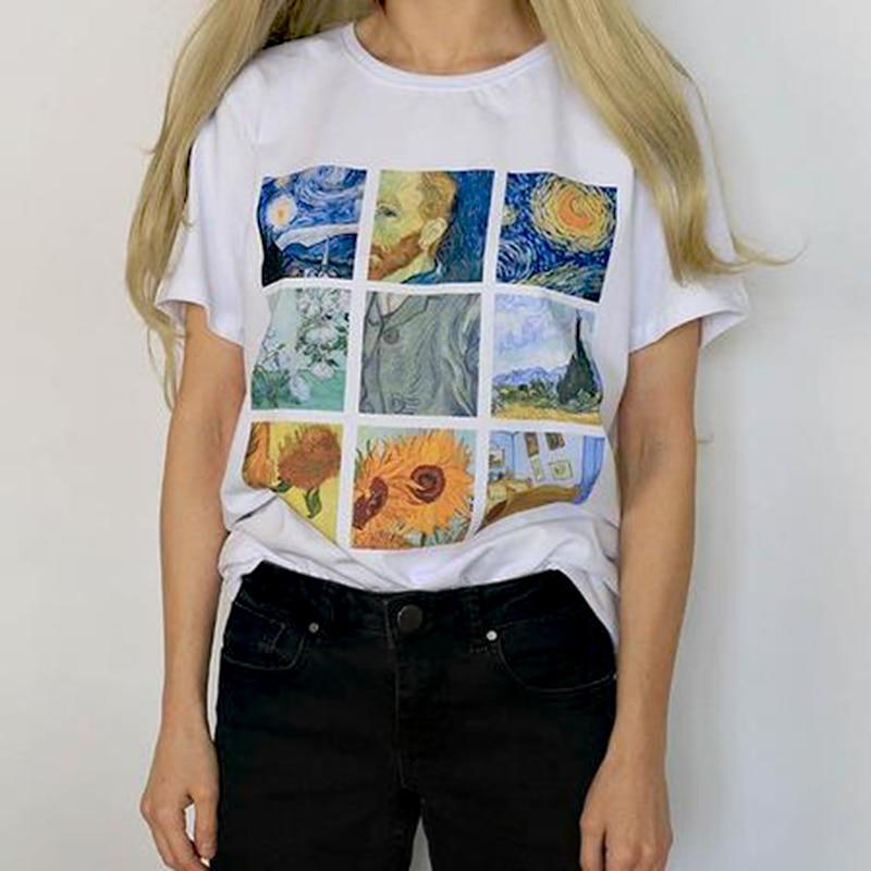 b1e2bb56ce38d Plus Size Summer Women Vogue T-Shirt Top Harajuku Print Van Gogh Art Oil  Elastic