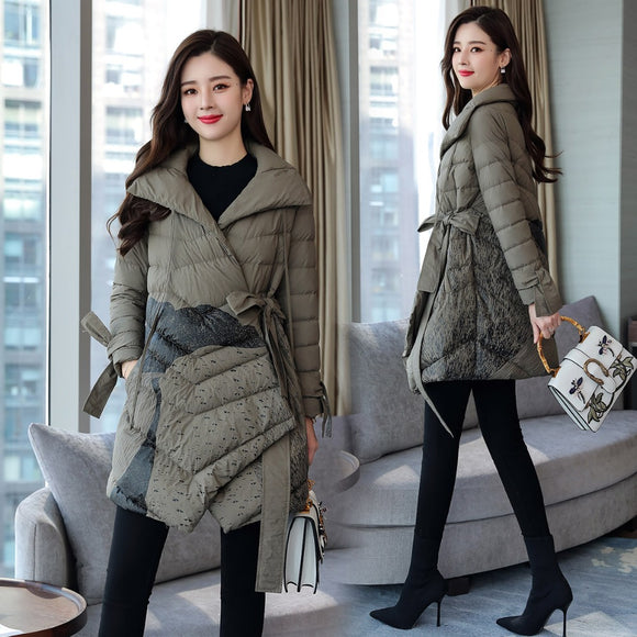 Women's Fashion Skirt Down Coat with Sashes