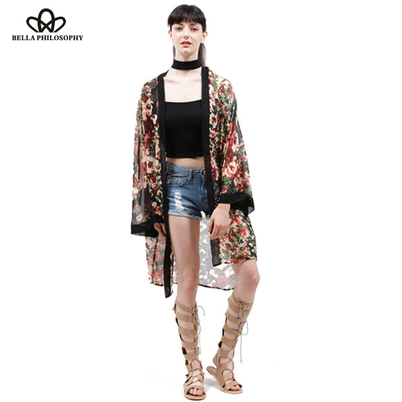 2018 spring summer wholesale new women black red flower floral print chiffon long kimono cardigan jacket bikini outwear