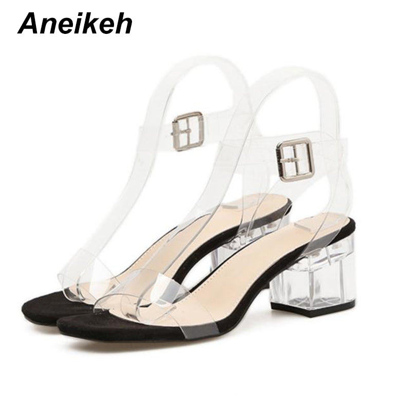 df11ace1bd19 Aneikeh PVC Transparent Heels Women s Summer Shoes Sexy Transparent  Gladiator Sandals Fashion Clear Heels For Women