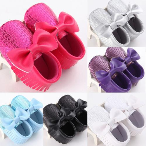 Newborn Infants Baby Girl Soft Crib Shoes Kids Toddler Casual Shoes Bowknot Tassel Leather Sequin Prewalker Sole Shoes 0-18M