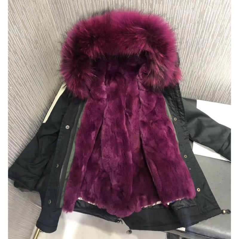 a6ee6dd3e059 Women s Leather Winter Jackets Real Fur Children Thicken Warm Parka Fo