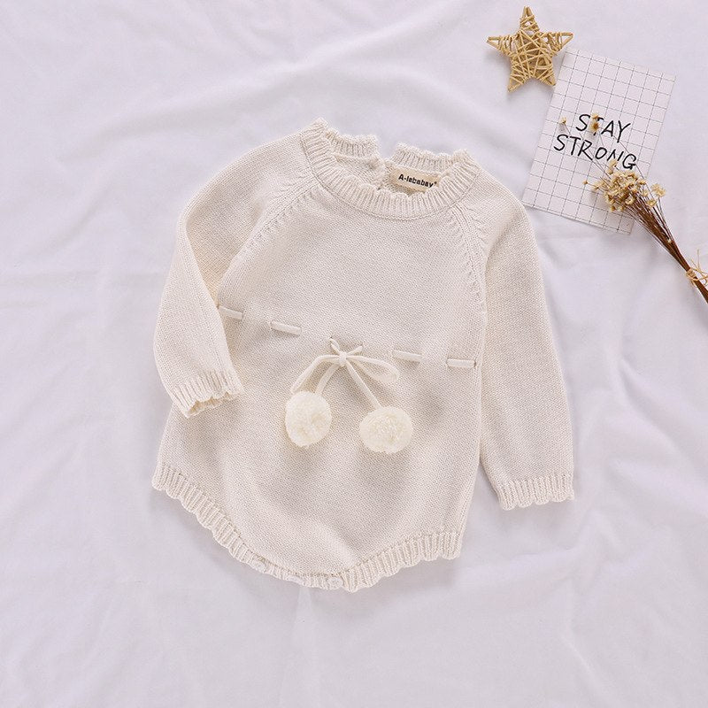 3a839eacc276 Autumn Baby Knitted Rompers Sweater Baby Girl Long-Sleeve Knitted Over