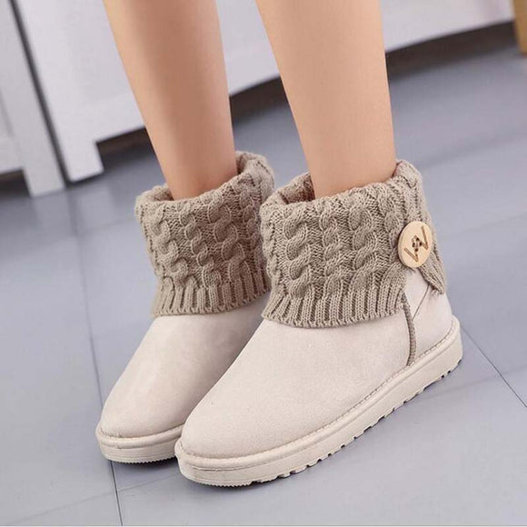 new Women's Boots Winter Warm Snow Boots Mid Calf Boots Women Ladies Girls Thick Plush Flock Women Shoes