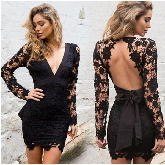 2018 Women Deep V-neck Long Sleeve Lace  Floral  dress  backless Mini Bodycon Dress with bow belt Dresses Vestido