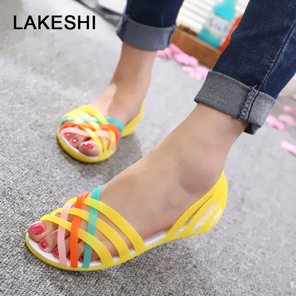 LAKESHI 2019 New Jelly Sandals Rainbow Candy Color Women Sandals Peep Toe Summer Beach Sandals Jelly Shoes Woman Flat Shoes