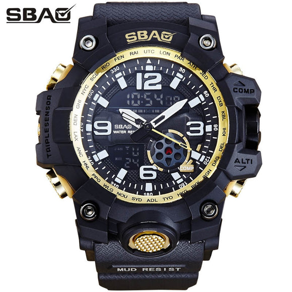 Watch Men Sport Men's Watch 2018 Brand Dual Display Swimming erkek kol saati Quartz Wristwatches 30M Waterproof Geek Male Clock