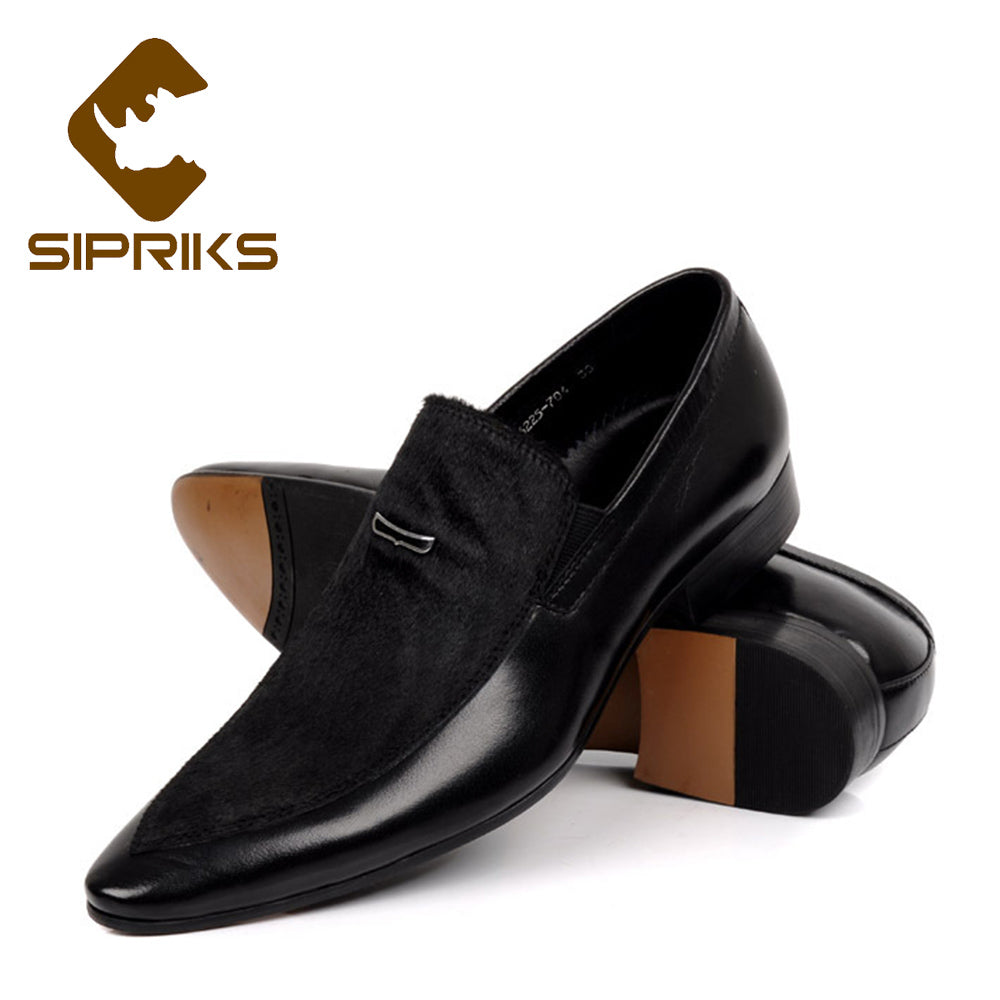 f1f373cf4e33c5 Sipriks Mens Real Leather Loafers Black Suits Men Shoes Slip On Dress Shoes  Grooms Wedding Party