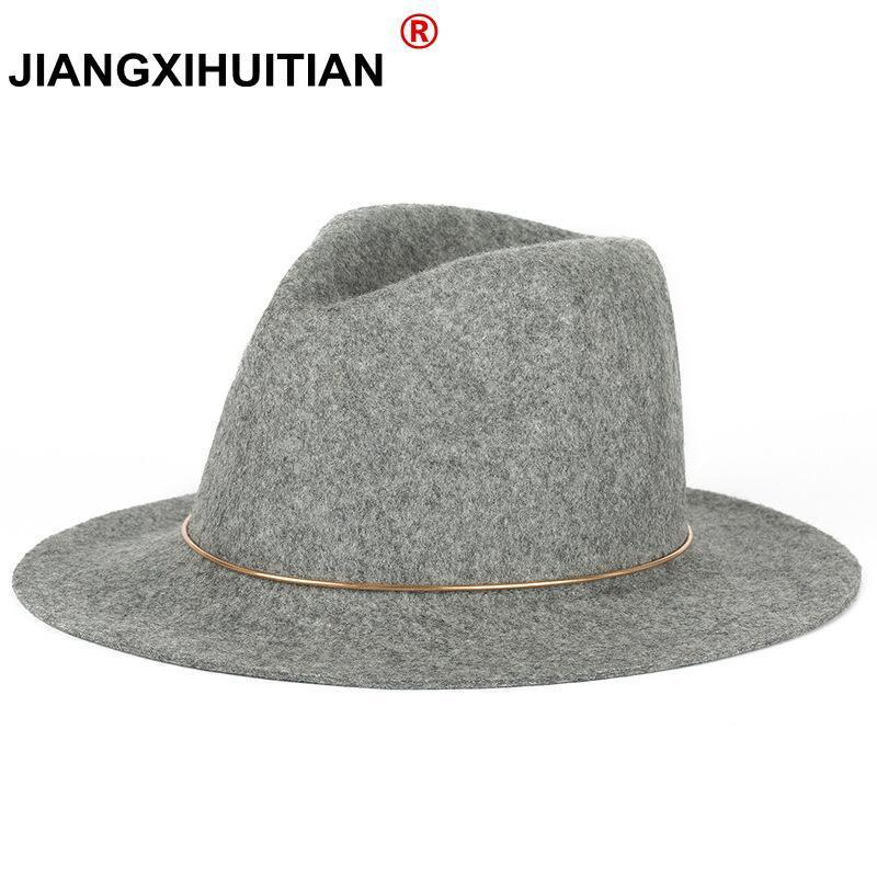 5692e7fbad5 2017 New feather Hats For Women Soft Vintage Wide Brim 100%Wool Felt Bowler  Fedora