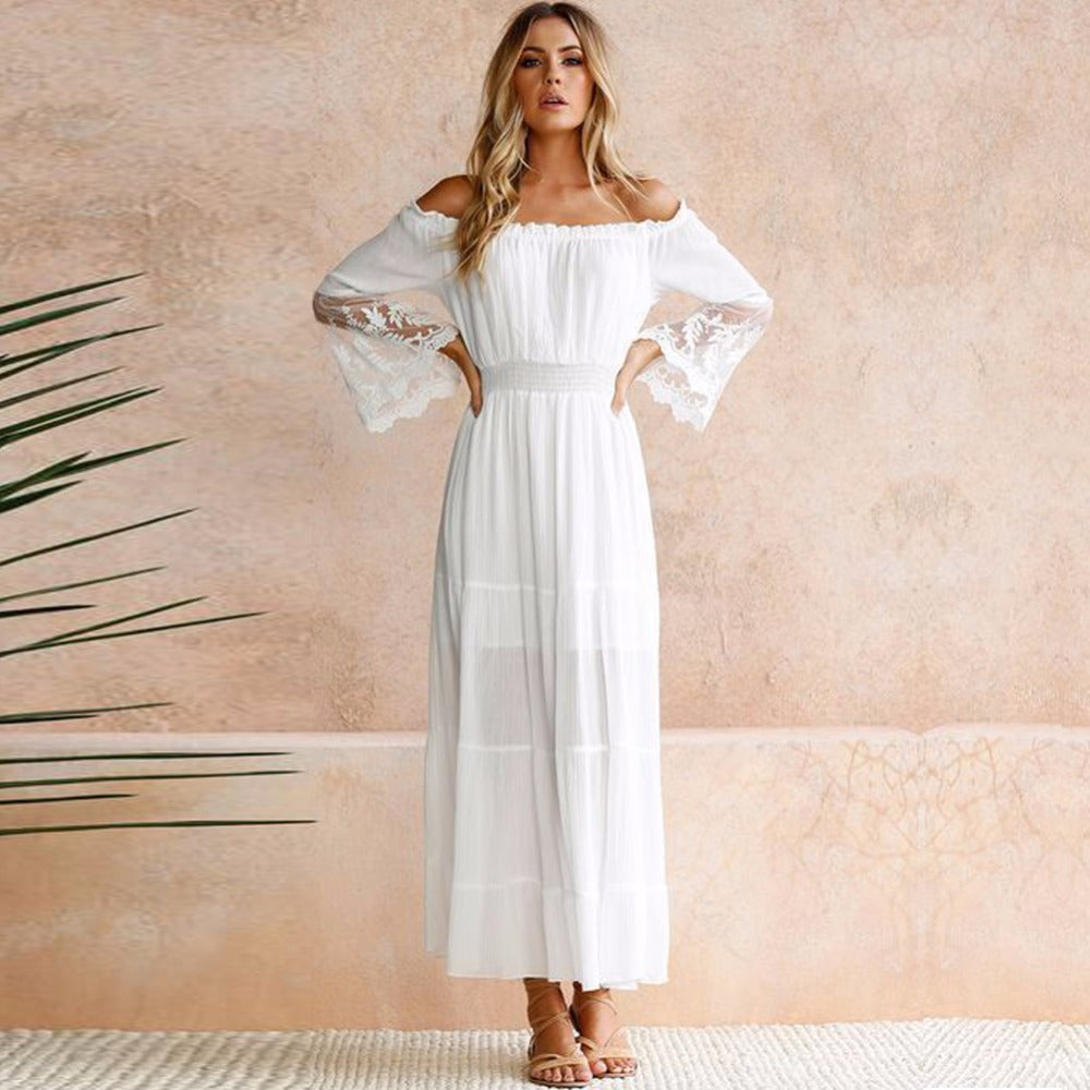 0ae0fe7c2671 Summer Sundress Long Women White Beach Dress Strapless Long Sleeve Loose  Sexy Off Shoulder Lace Boho. Hover to zoom ...