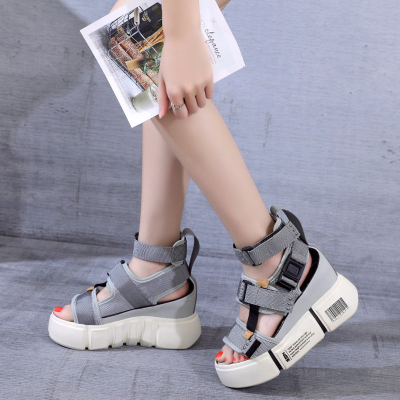 63ad2b3bb SWYIVY platform sandals for woman 2019 new blue wedge high heel chunky sandals  shoes summer female
