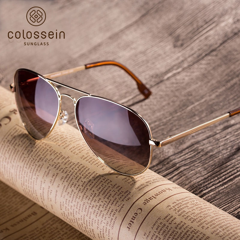 74fa236c6479 COLOSSEIN Polarized Sunglasses Brand Designer Classic Metal Sun Glasses For  Women Men Brown Black Lens Fashion