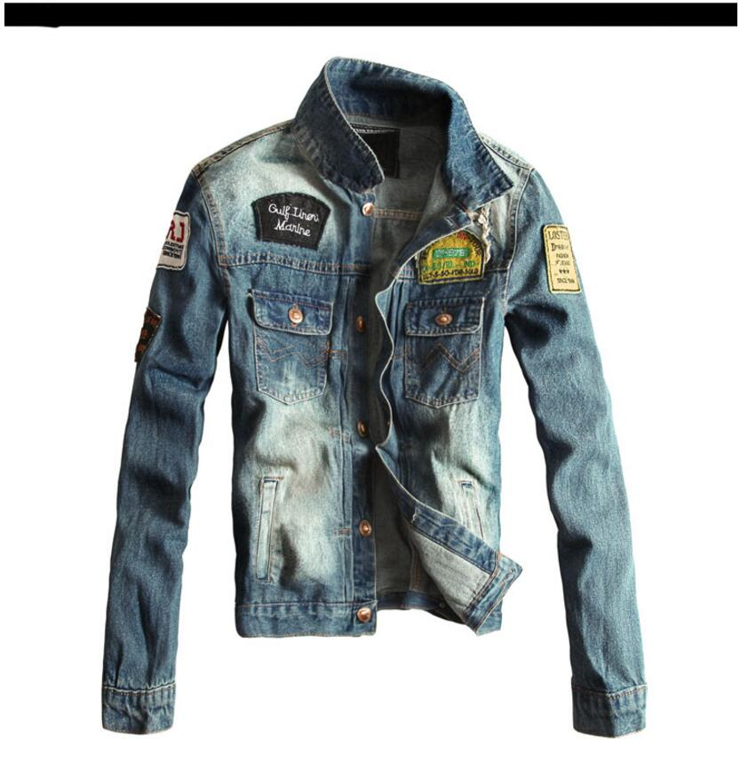 177e00e328 Retro Denim jacket Men Trendy Hole Outerwear Hot Coat Long Sleeves Europe  Safari Styles Coat Single