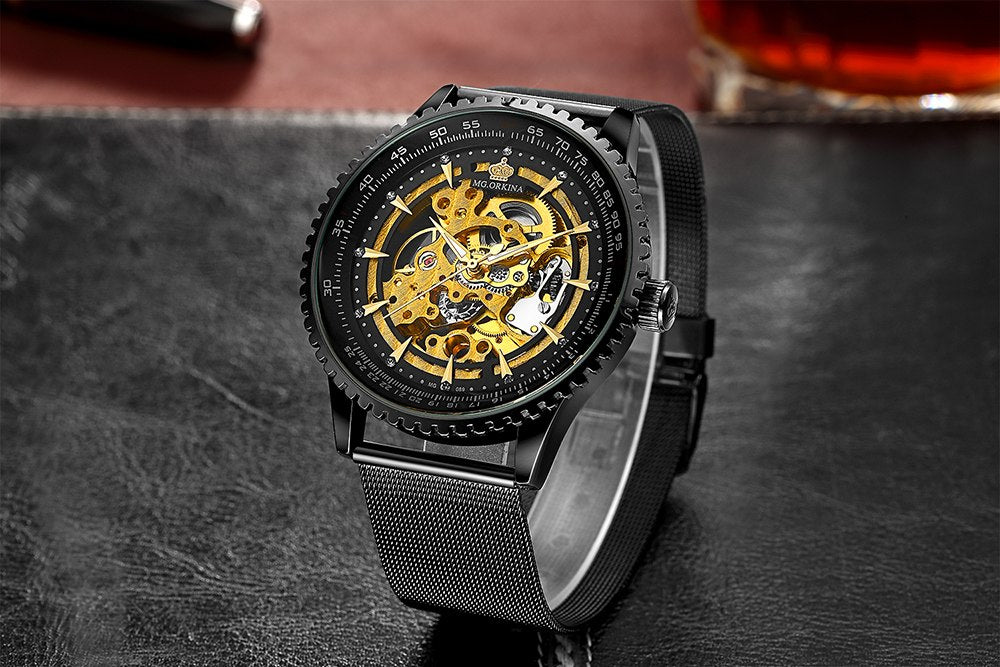70b6eee7a74 MG. ORKINA New Male Wristwatches Stainless Steel Mesh Band Men s Skeleton  Mechanical Watch Automatic Relogio