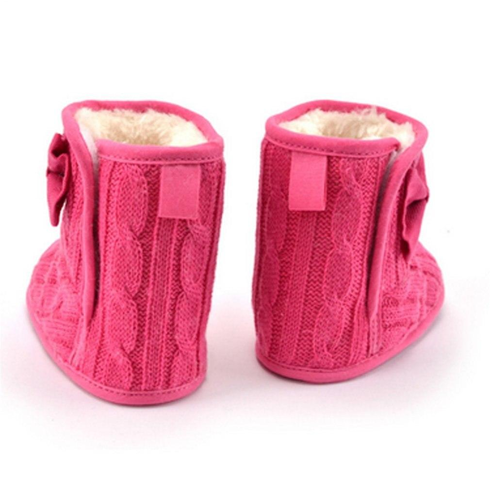 98f797c703a7 OUTAD Winter Warm Thicken Baby Girls Shoes Soft Sole Prewalker Knit Bowknot  Faux Fleece Snow Boot
