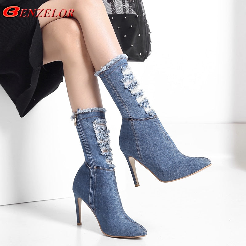 0506e9e3b6c BENZELOR Autumn Winter Denim Jeans Women Shoes Woman Boots Mid-calf Pointed  Toe Fashion Thin