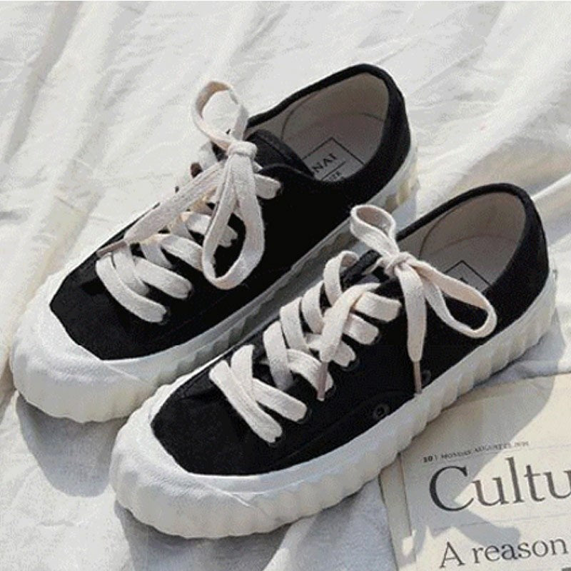 1982f75368d Canvas shoes for women Plus size 41 42 43 Shallow Girls sneakers Lace-
