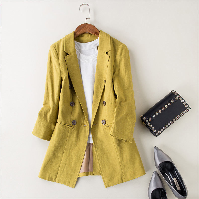 c2dabe525c6 Spring Autumn Women black Blazer Double-Breasted linen suit Pockets OL Work  Office Suits Pure