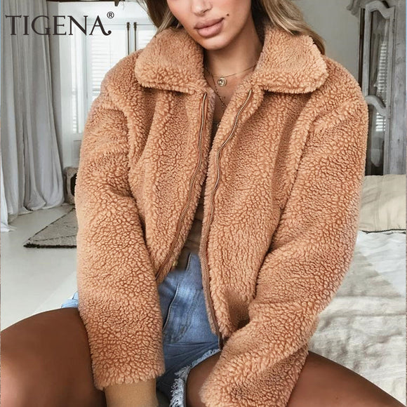 TIGENA 2018 Autumn Winter Faux Fur Short Jacket Women Long Sleeve Bomber Jacket Coat Female Fluffy Shaggy Zipper Jacket Ladies