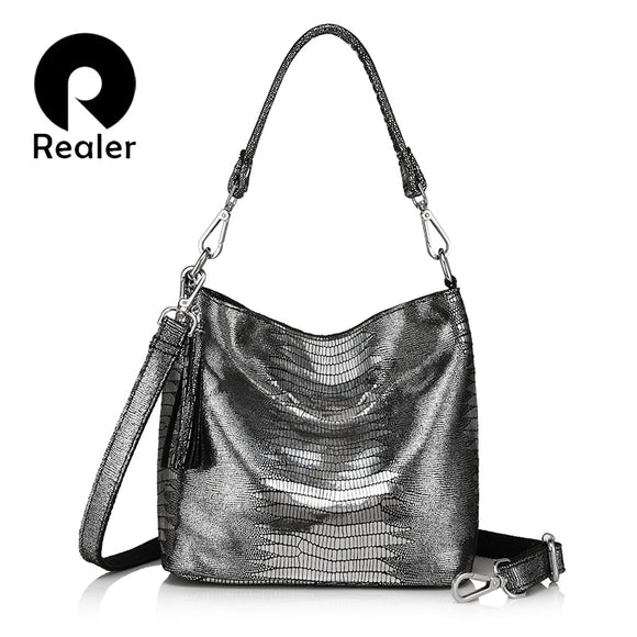 REALER women handbags genuine leather crossbody shoulder bags female animal prints messenger hobos bags ladies small top-handle